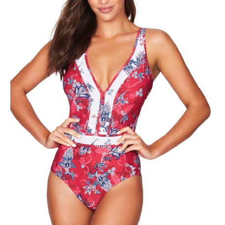 SEA LEVEL  Paisley Floral Spliced One Piece